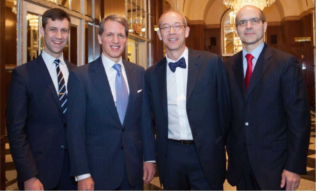 (L-R) NYLPI Executive Director McGregor Smyth, 2014 honorees Peter Beshar of Marsh & McLennan and Andy Levander of Dechert LLP, and then-NYLPI Board Chair Hector Gonzalez, also of Dechert LLP.