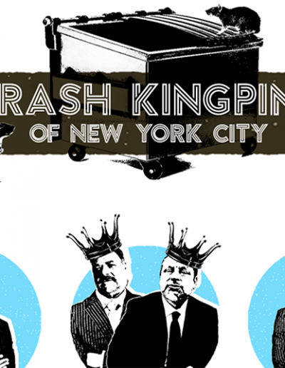 """Image shows homepage of the """"Trash Kingpins of New York"""" website with waste hauliers and a dumpster"""