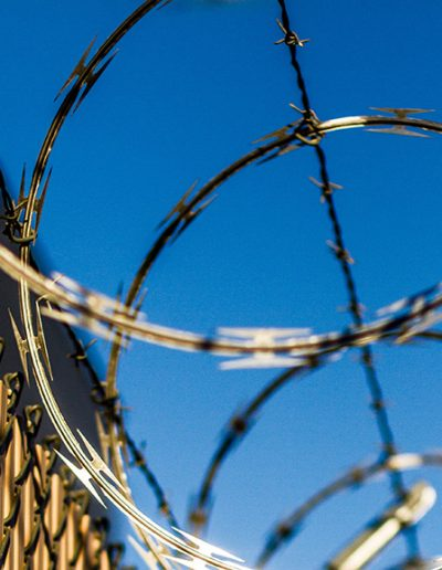 Barbed wire on a jail fence