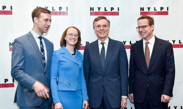 NYLPI executive director McGregor Smyth (left) with Law & Society Honorees (center) and Chair