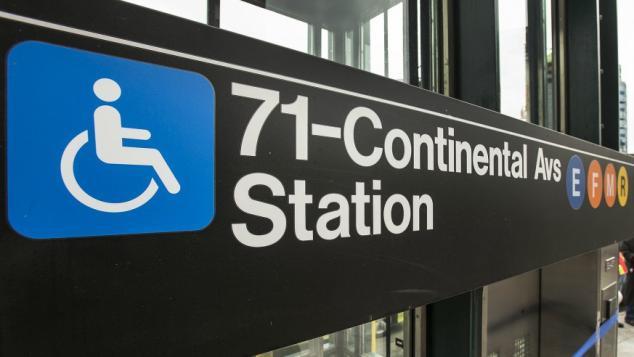Disability access sign at subway station