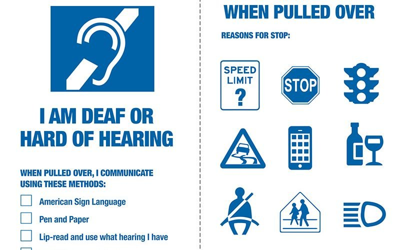 A visor card issued to drivers with hearing challenges in New York to help them communicate with police