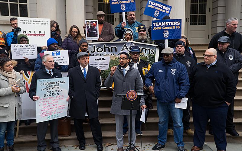 Councilmember Antonio Reynoso addresses a crowd to announce the closure of Sanitation Salvage on Nov 28, 2019