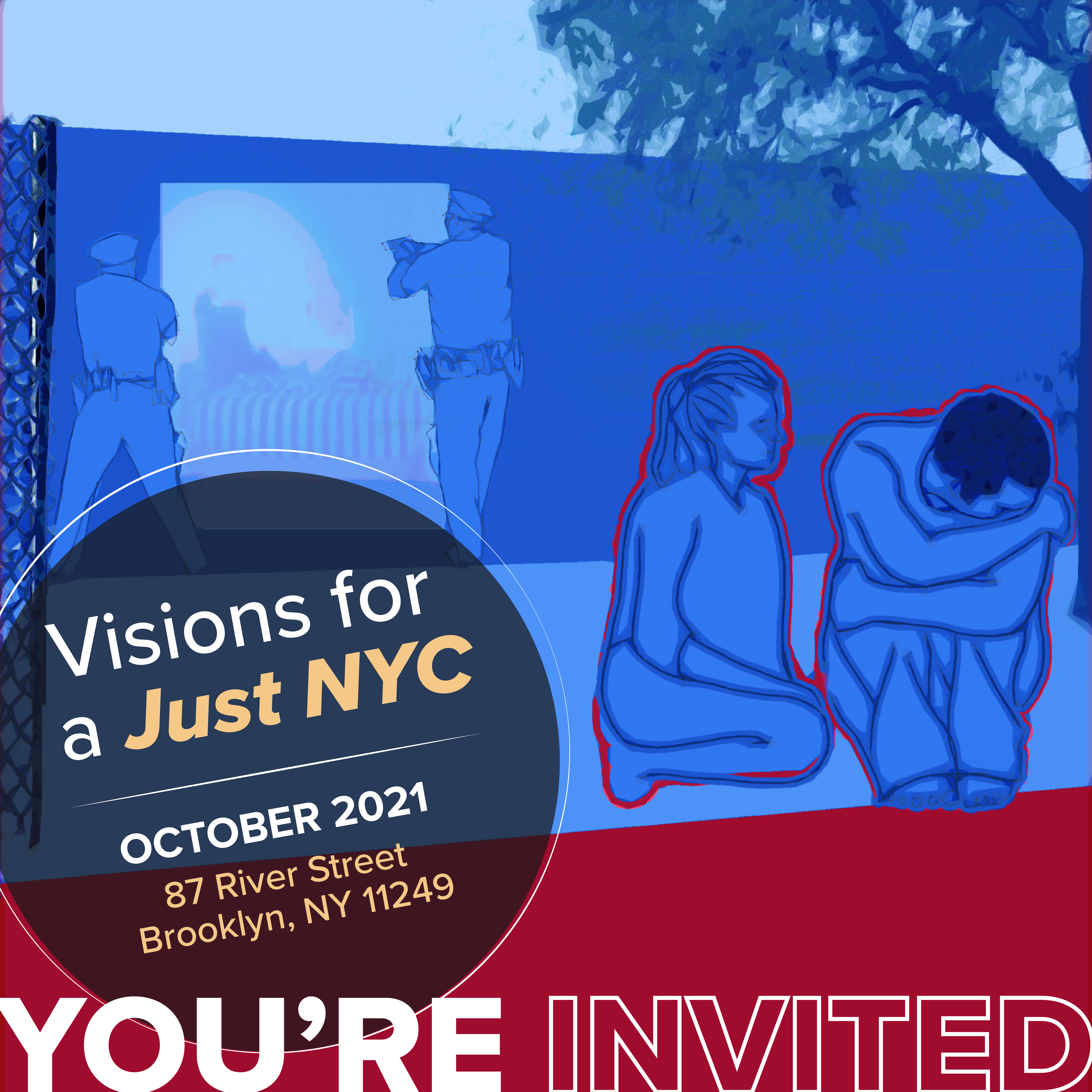 A mural panel in violet and red depicting a person having a mental health crisis in front of a background of police with guns drawn. Text reads: Visions for a Just NYC. October 2021. 87 River Street, Brooklyn NY, 11249.