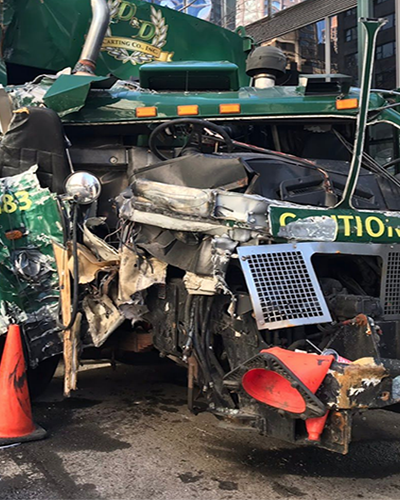 A New York Garbage truck after an accident