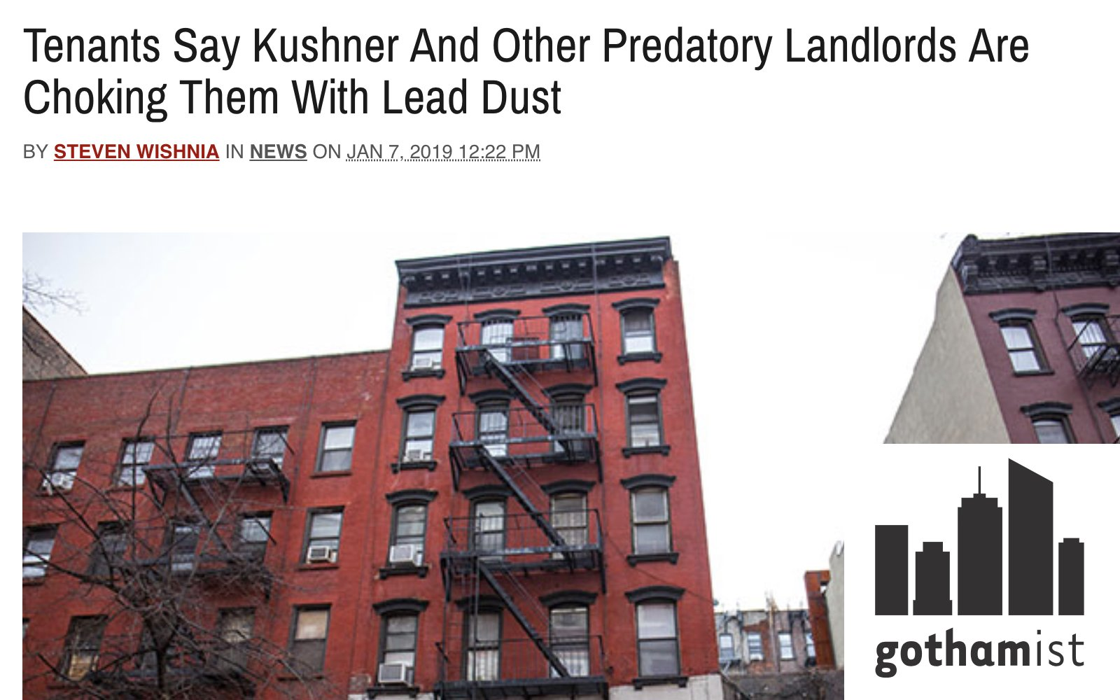 """Image shows Gothamist story on lead and """"predatory landlords"""""""