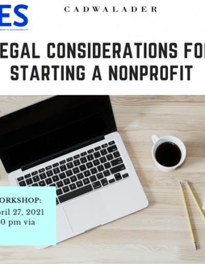 """Picture of a laptop from an aerial view, with a coffee, pencil and notepad next to it. Text reads """"legal considerations for starting a nonprofit"""""""
