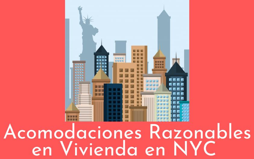 Una representación ilustrada del horizonte de la ciudad de Nueva York sobre un fondo rojo. Arriba, el texto en blanco dice: Acomodaciones Razonables en Vivienda en NYC.