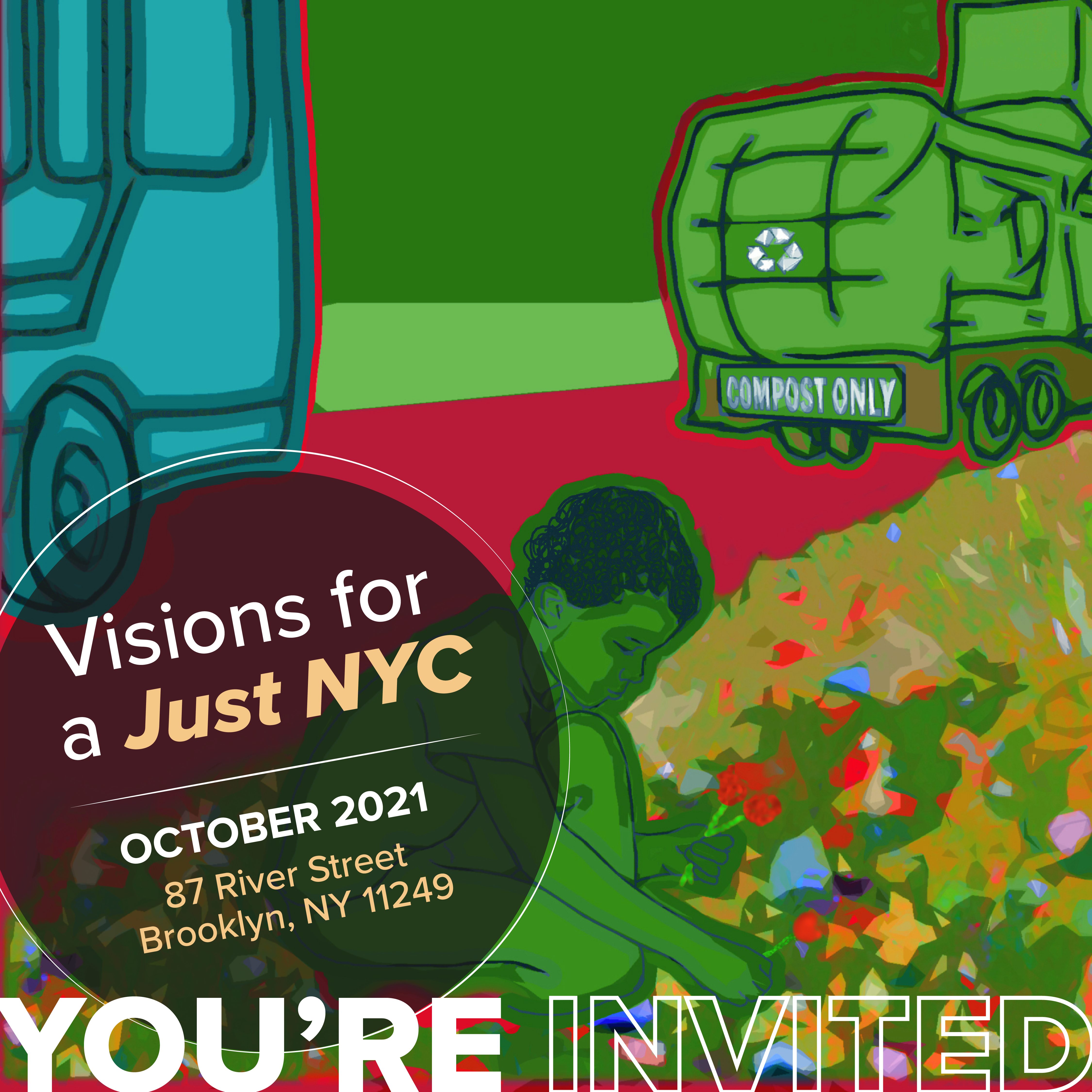 A mural panel in green depicting a person gardening with a compost truck in the background. Text reads: Visions for a Just NYC, October 2021, River Street Park, Williamsburg.