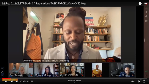 A screenshot of Anthony Rogers-Wright speaking on a virtual environmental racism panel