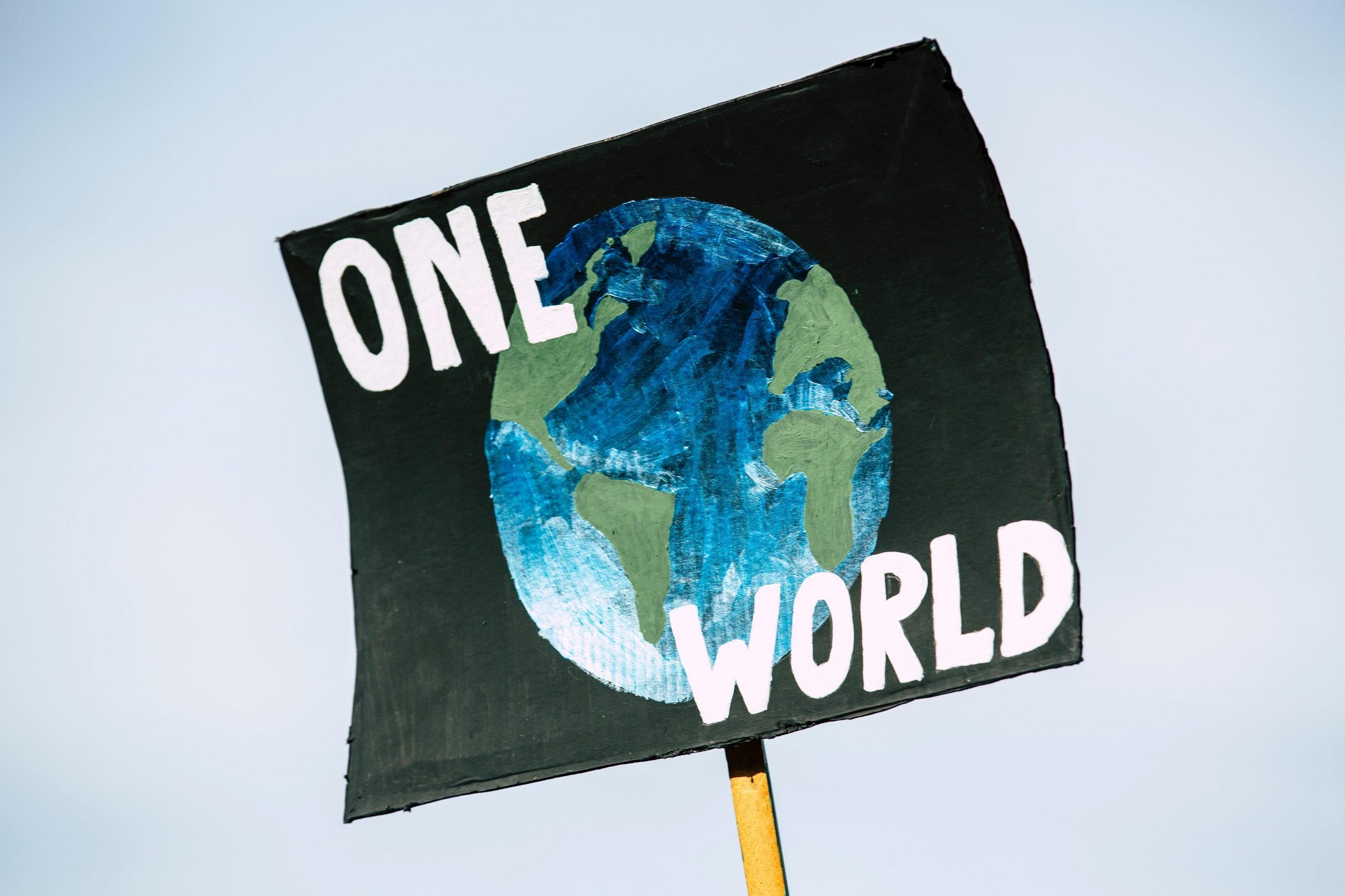 """A climate protest sign that shows planet Earth with the text """"One World"""""""